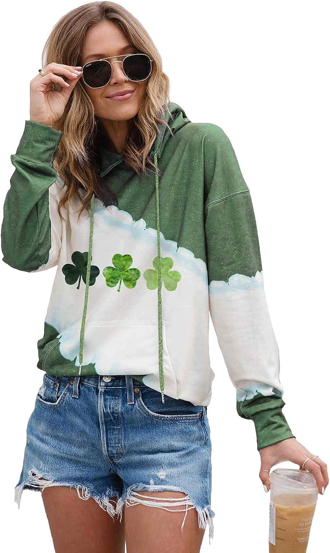 Womens St Patricks Day Apparel Long Sleeves Irish Hooded Sweatsh