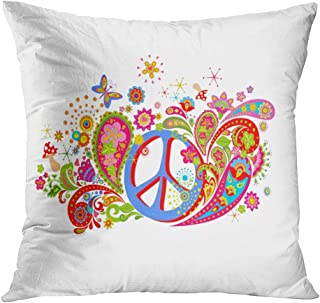 Lichtion Throw Pillow Cover Print Psychedelic Hippie Peace Symbol Mushrooms Decorative Soft Bedroom Sofa Living Room Car Pillowcase Cushion Couch 18 x 18 Inch