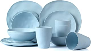 Lekoch Bamboo Dinnerware Set Eco-friendly Dishware 16-Piece,Modern Plate Set for Adults and Children -Light Blue