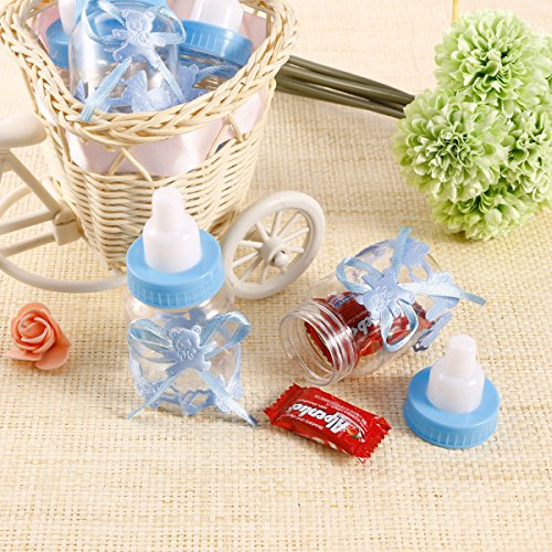 CHSYOO 24 x Azul Baby Chico Candy Bottle Caja de Regalo para Bautizo Baby Shower Babyshower Kids Party Garden Party Party Favor