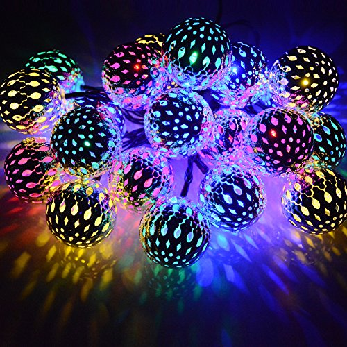 Solar String Lights Moroccan Ball Multicolor 15ft 20LED Globe Fairy String Lights Solar Powered Orb Lantern Christmas Lighting for Outdoor Garden Yard Patio Xmas Tree Party, Home