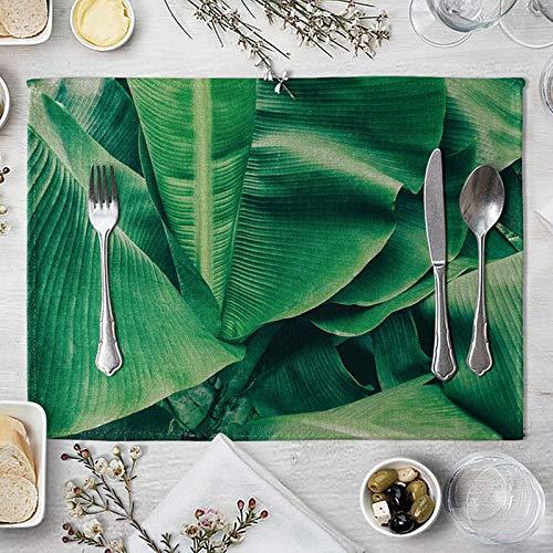 KnBoB Ensemble de 2 Set de Table Vert Antidérapant Rectangulaire Tissu de Coton et de Lin 40x30cm Tapis de Table