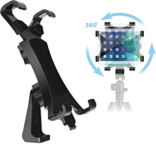 IPOW 360 Degree Rotatable Break-Resistant iPad Tripod Mount Adapter, Universal Tablet Clamp Holder Fits Ipad Air, Pro, Min...