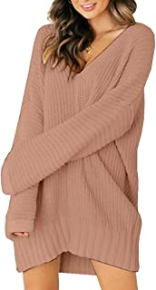 XNN Womens Casual Long Sleeve Sweater Loose Knitted Sweater V Neck Jumper Pullover Tops