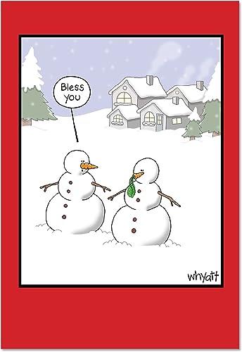 ahorra 50% -75% de descuento B2491X SG 12piezas, caja de las Tarjetas Tarjetas Tarjetas de navidad Snowman sneeze Funny Tarjetas de felicitación de navidad, con sobres  Entrega directa y rápida de fábrica