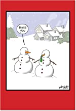 NobleWorks 'Snowman Sneeze': Funny Christmas Greeting Card with Envelope (C2491XSG)
