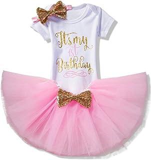 fa5842eeaa912 3pcs Fille Bébé Princesse Robes Set de Vêtements pour Fête pour Fille 1er    2ème anniversaire