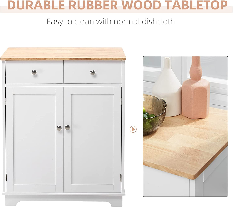 Buy HOMCOM Kitchen Sideboard Floor Storage Cabinet with Solid Wood ...