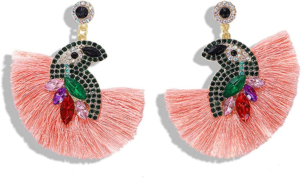 Stylish cute diy animals, flamingos, crystal parrots, tassels, cheongsam birds, beaded earrings, girls, holiday accessories, Halloween, Christmas and New Year's parties