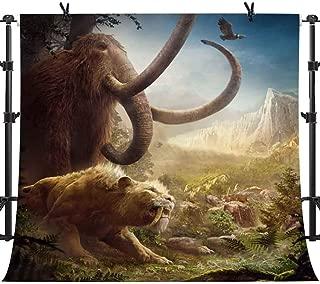 PHMOJEN Far Ancient Animals Safari Backdrop Mammoth Smilodon Cry Theme Photography Background Vinyl 10x10ft Party Banner Photo Studio Props LHPH657