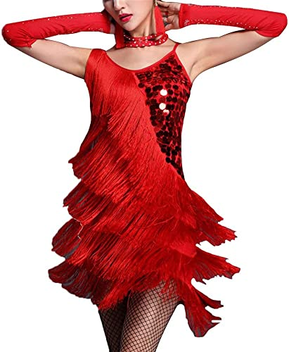 Robe de Femme Femmes Paillettes sans Manches Gland Robe De Danse Latine Robe Outfit Fbaguee Robe Flapper Sway Danse Robe De Cocktail Lady Salle De Bal Perforhommece Costume De Danse Robe de Danse