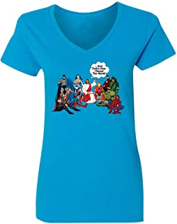 Jesus and Superheroes That's How I Saved The World Christian Funny Womens Vneck T-Shirt