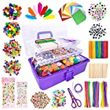 kortes 1405 Pcs Art and Craft Supplies for Kids, Toddler DIY Craft Art Supply Set Included Pipe Cleaners, Pom...
