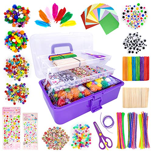 kortes 1405 Pcs Art and Craft Supplies for Kids, Toddler DIY Craft Art Supply Set Included Pipe Cleaners, Pom Poms, Foam Balls and Feather, Folding Storage Box - All in One for Craft DIY Art Supplies