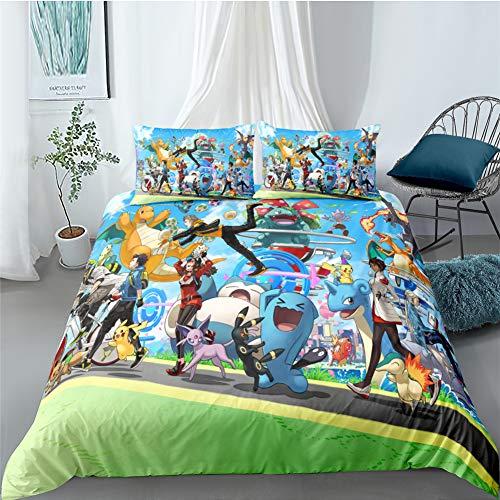 PNNNU Pokémon Housse De Couette, 1 Et 2 Personnes Parure De Lit Anime, 100% Microfibre,Motif d'impression 3D pour Garçons Filles Et Enfants (Style D,140 x 200 cm)