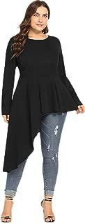 Women's Asymmetrical Ruffle Hem Long Sleeve Round Neck Peplum Irregular Blouse