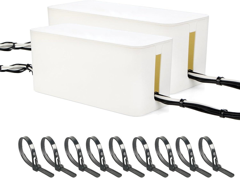 - 2-Set Kabel Management Box Organizer groß 12,7 x 15,5 x 40,6 cm und 13 x 12,2 x 32 cm mit 100 wiederverwendbar Mehrweg-für Kabel-Management B075LM5T38 | Gewinnen Sie hoch geschätzt