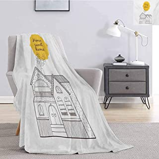Home Sweet Home Luxury Special Grade Blanket Village House with Dots Lines and Hearts Old English Country Multi-Purpose use for Sofas etc. W60 x L70 Inch Yellow Dark Brown White