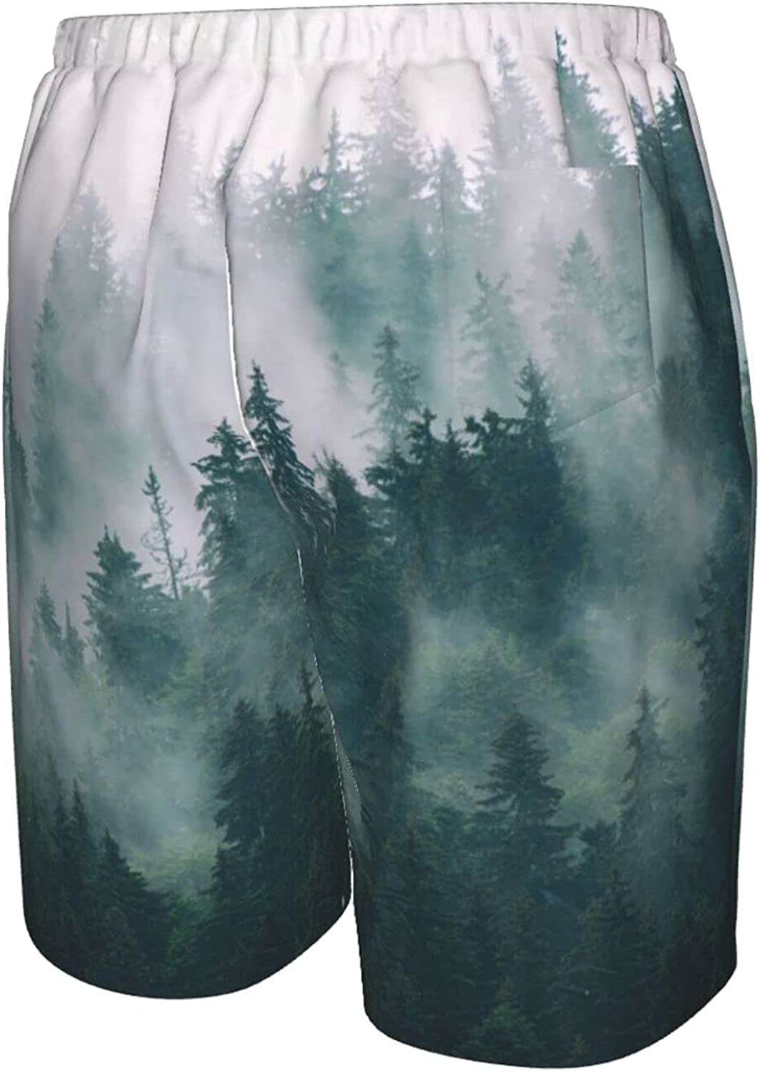 Mens Bathing Suits Vintage Forest Foggy Swim Short Boardshort Quick Dry Cool Swimming Trunks with Mesh Lining