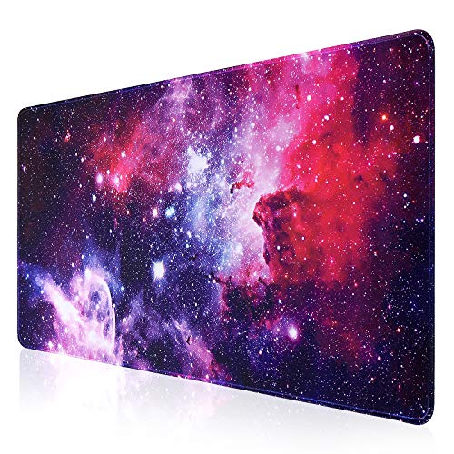 Extended Gaming Mouse Pad, Large Computer Keyboard Mouse Mat, Desk Mouse Pad Mat, Non-Slip Base, for Work & Gaming, Office & Home 35.4 x 15.7X 0.12 inch (Purple-Galaxy)