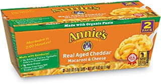 Annie's Real Aged Cheddar Microwavable Macaroni & Cheese, 12 Cups, 2.01oz (Pack of 6)