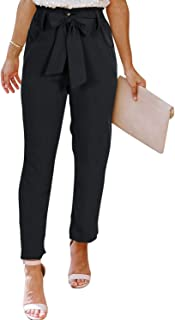 NIMIN Women's Casual Pants Trousers Paper Bag Pants Tie Waist Loose Work Beach Pants with Pockets