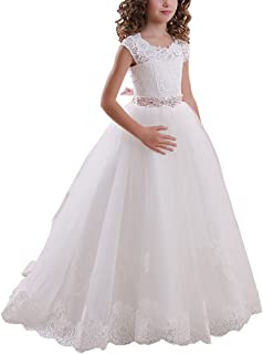 6a1f3202ed9 ABaowedding Ball Gown Lace Up First Flower Communion Girl Dresses