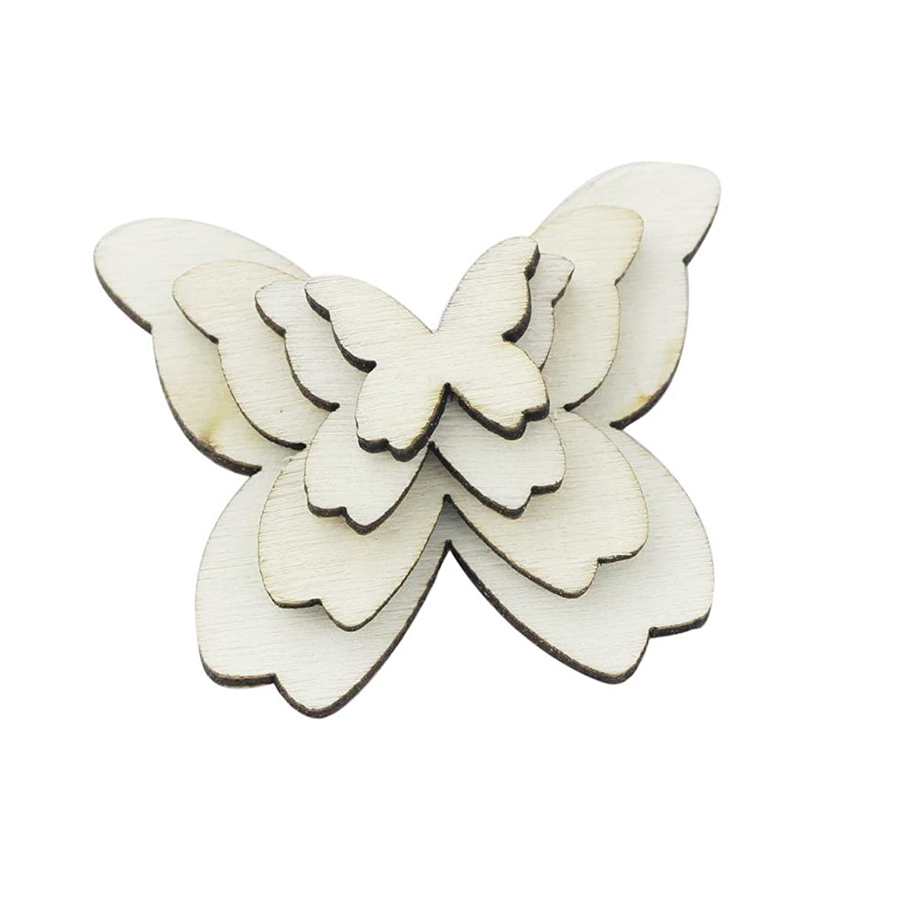 WINGONEER 100pcs Mixed Size Wooden Butterfly Cutouts Craft Embellishment Gift Tag Wood Ornament for DIY
