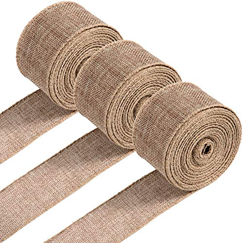 Whaline 3 Rolls Wired Edge Ribbons 30 Yards x 1 Inch Natural Burlap Ribbon Vintage Ribbon Rustic Farmhouse Craft Ribbon for DIY Gift Wrapping Wreath Floral Arrangement Crafts Christmas Decoration