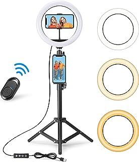 FreeFly 10インチLedリングライト 46cm ~150cm 三脚スタント 3色モード 10段階調光 360度回転可能 フォーンホルダー付き 調光可能美容リングライト Vlog/Web会議/Zoom/テレワーク/生放送/自撮り/美容化...