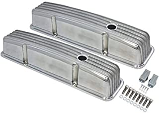 A-Team Performance Tall Finned Polished Aluminum Valve Covers Compatible with 58-86 Chevrolet SBC Small Block Chevy 283 327 350 400