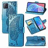JIUNINE Hülle für Oppo A72 5G / A73 5G, Handyhülle Leder Flip Hülle mit Schmetterling Muster [Kartenfach] [Magnetverschluss] Schutzhülle Tasche Cover Lederhülle für Oppo A72 5G, Blau