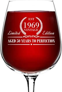 1969 Vintage Edition Birthday Wine Glass for Men and Women (50th Anniversary) 12.75 oz, Elegant Happy Birthday Wine Glasses for Red or White Wine   Classic Birthday Gift, Reunion Gift for Him or Her