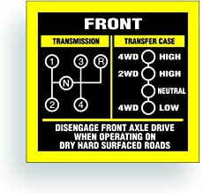 Solar Graphics USA Transmission Shift Pattern Decal - Compatible with Jeep, Willys Or CJ May Fit Transmission and Transfer Case Models T18, Dana 20, 4 Speed,Single Stick - 3x2.75 inch