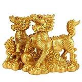 bwinka 2pcs/par chino Golden resina Fengshui Chi Lin Kei Loon/Qi Lin dragón caballos Estatua, resina, Smail