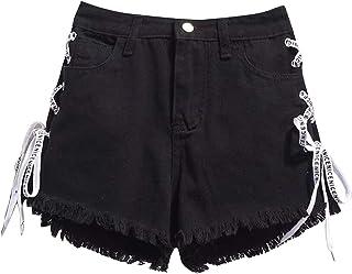 1705e32b2a Zantt Women High Waisted Cutoff Loose Fit Bandage Large Size Denim Shorts  Jeans
