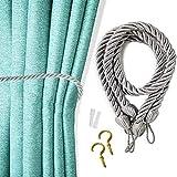 2 alzapaños para cortinas al aire libre, hechas a mano, cuerda de algodón natural para tejer alzapaños para cortina transparente y opaca (juego de 2 unidades) (gris oscuro)