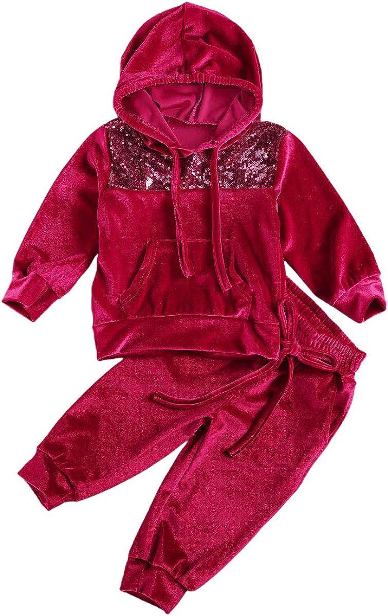 1-6Years Toddler Kids 2Pcs Velvet Hooded Tracksuit Top + Sweatpa