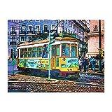 Acuarela Lisboa City Street Bus Tranvía Arte Impresión en Lienzo Carteles Graffiti Cuadros de Pared para Sala de Estar Decoración del hogar 23.6'x35.4 (60x90cm) Sin Marco