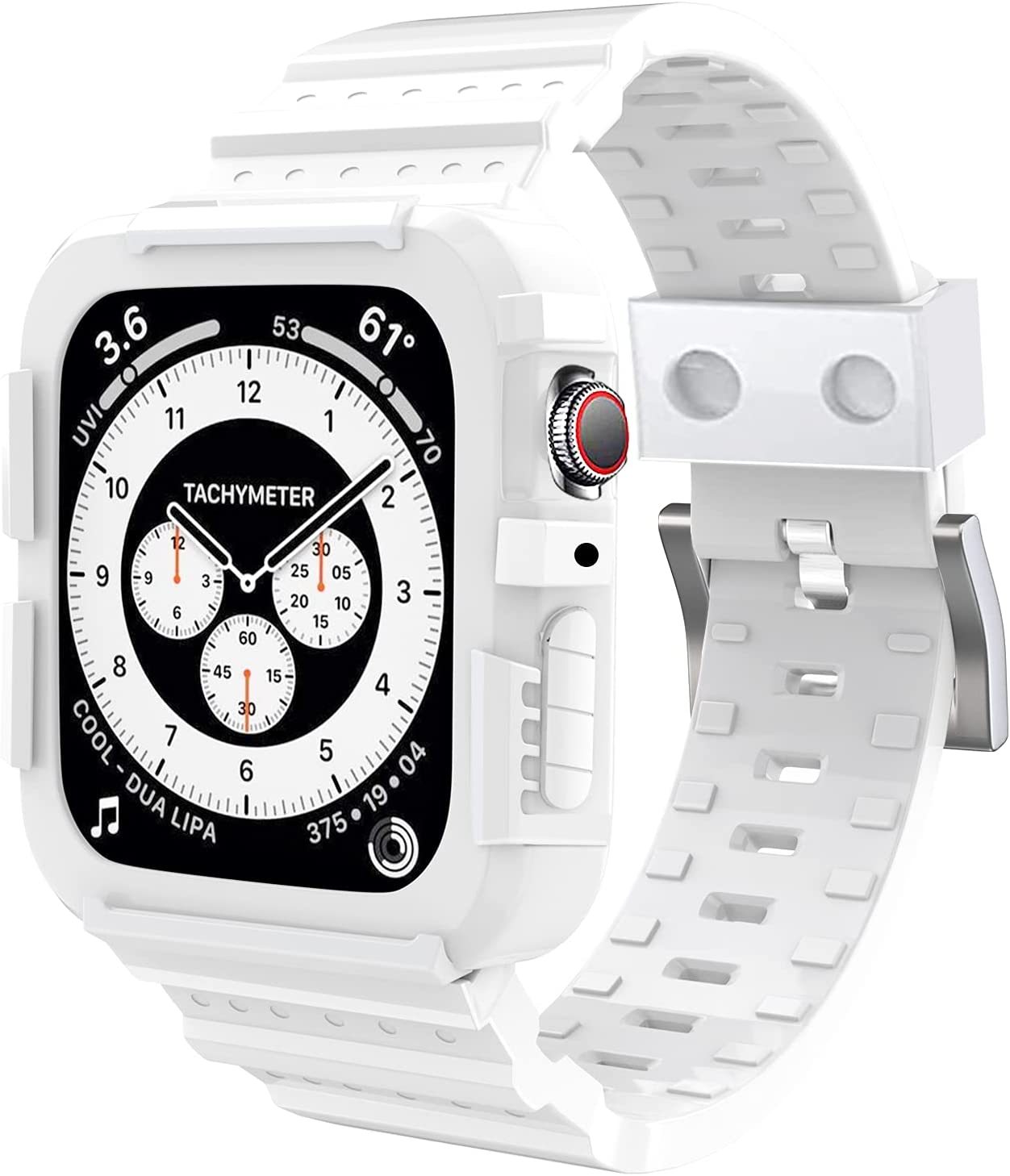 SLYEN Compatible for Apple Watch Band with Case Accessories 38mm 40mm Men Women,Bright White Rugged Strap with Shock-Proof Bumper for iWatch Series SE/6/5/4/3/2