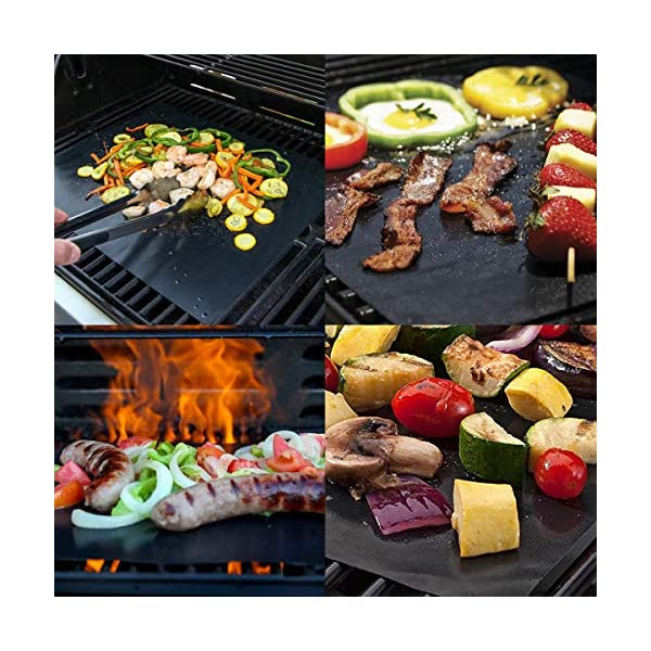 BACKTURE BBQ Grill Mat (5 pcs) 33x40 cm + 2 Brushes for Grilling and BBQ Non-Stick Grill Baking Mat Large Grill Foil… 4