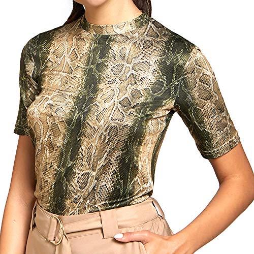 YAMAMAY® T-Shirt Donna a Maniche Corte con Stampa Animalier pitonata Loves LA