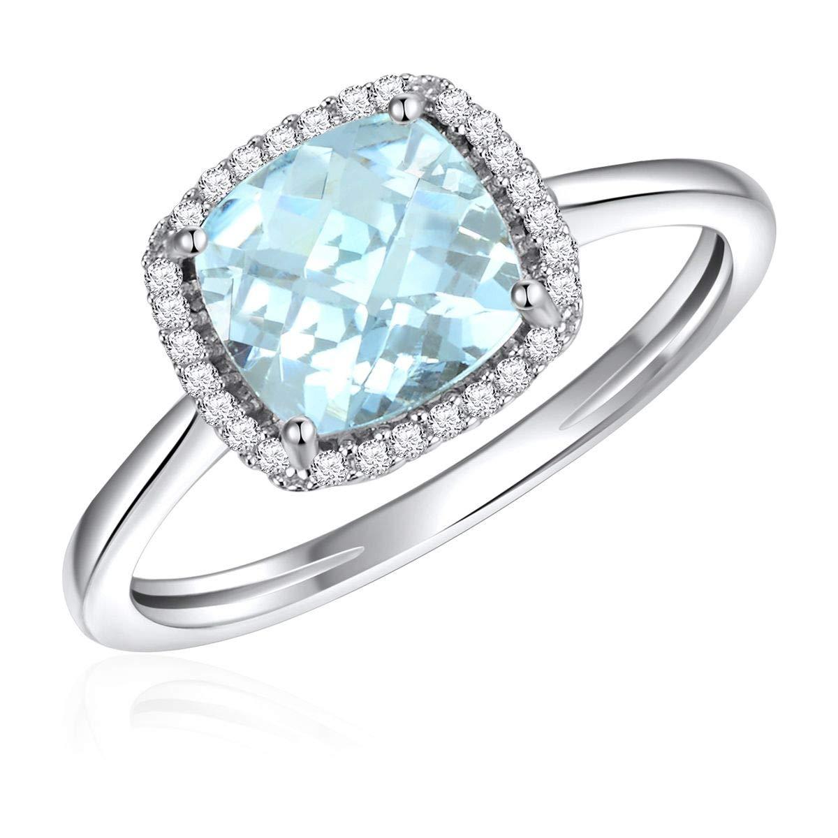 14 Karat - White Gold New arrival Ladies Semi 55% OFF Ring Gem Aquama Precious