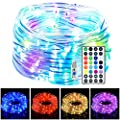 LED Rope Lights, 33ft 100 LED 16 Colors Changing Indoor Outdoor String Lights, USB Powered Multi-Colored Twinkle Tube Fairy Lights with Remote for Party, Wedding, Garden, Indoor Outdoor Decorations