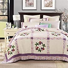 Bedspread Hand-Quilted Bed Throw Reversible Patchwork Quilt Lightweight Blanket American Pastoral Style 100% Cotton Comfor...