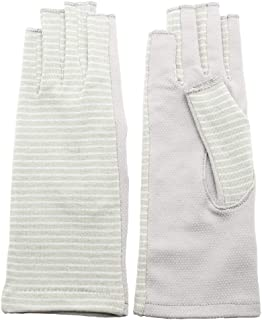iina!closet(イイナクローゼット) レディース UVカット手袋 すべり止め 指切り アームカバー 紫外線 運転 ボーダー
