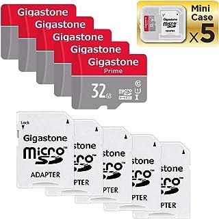 Gigastone Micro SD Card 32 GB マイクロSDカード 32 GB 5 Pack 5 SDアダプタ付 5 ミニ収納ケース付 SDHC U1 C10 高速 MicroSD メモリーカード Class 10 UHS-I フルHD 4K動画 Video Nintendo Gopro Camera Samsung Canon Nikon DJI Drone