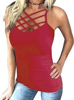 YOINS Oberteile Blusen Damen Tops Sommer Crop Tops Damen Sexy Cross Front Einfarbig