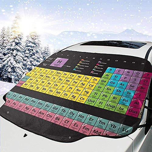 GOSMAO Periodic Table Of The Elements Chemistry Car Windshield Cover Snow Cover Ice Removal Wiper Visor Protector All Weather,Fit For Most Cars,147x118cm