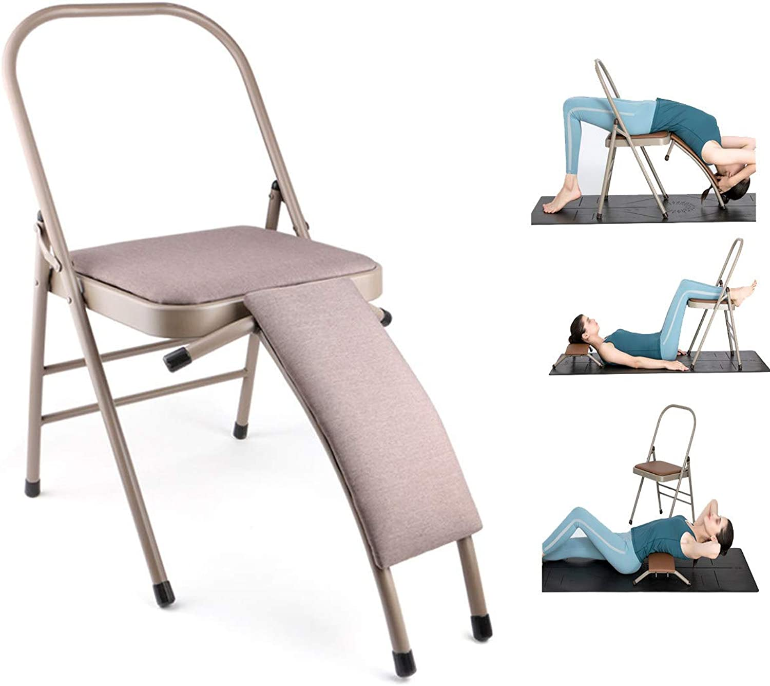 Yoga Chair Folding, Leather Upholstered Seat and Removeable Waist Support, Home Gym Body Training Auxiliary Chair with Waist Support, Khaki,B